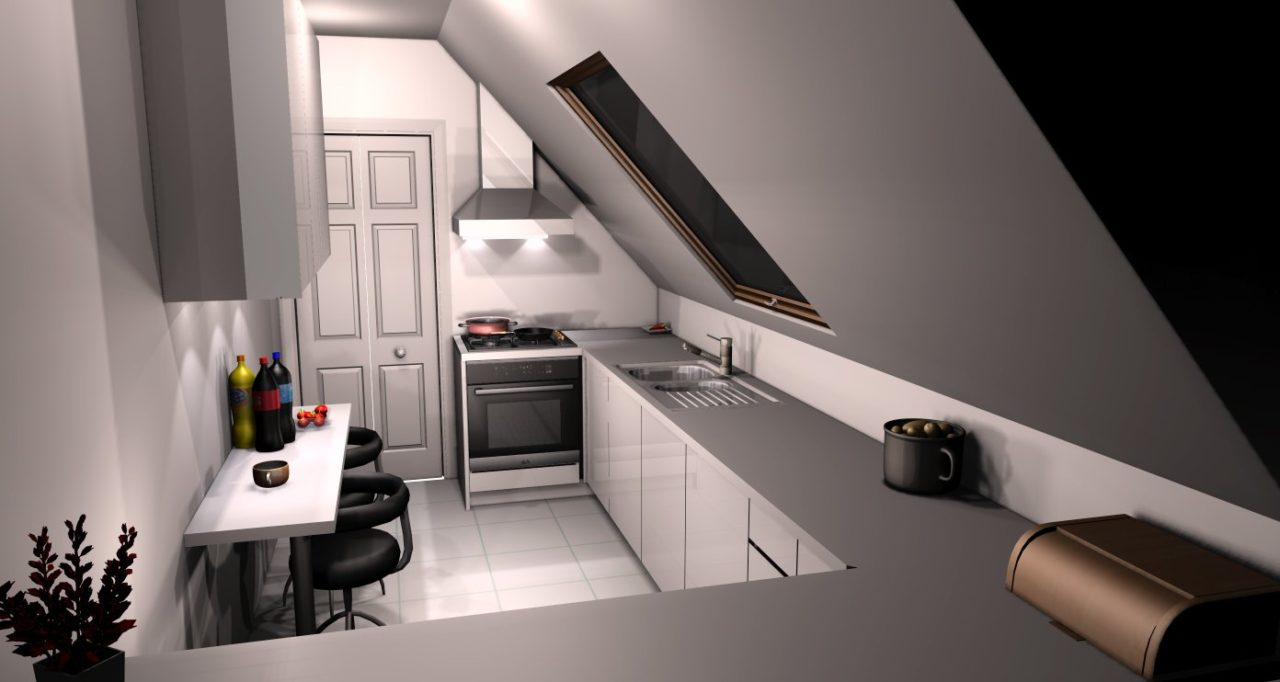kuchnia ze skosem (1)  Kuchnie, meble kuchenne   -> Kuchnie Na Poddaszu Ze Skosem