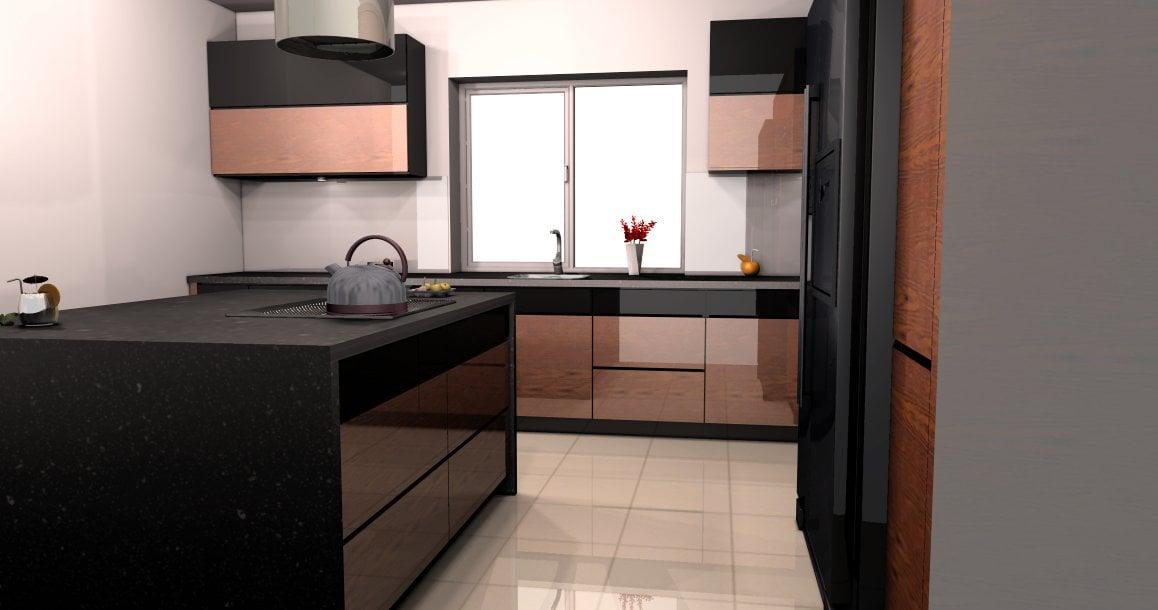 projekt kuchni palisander (1)  Kuchnie, meble kuchenne   -> Projekt Kuchni Duzej