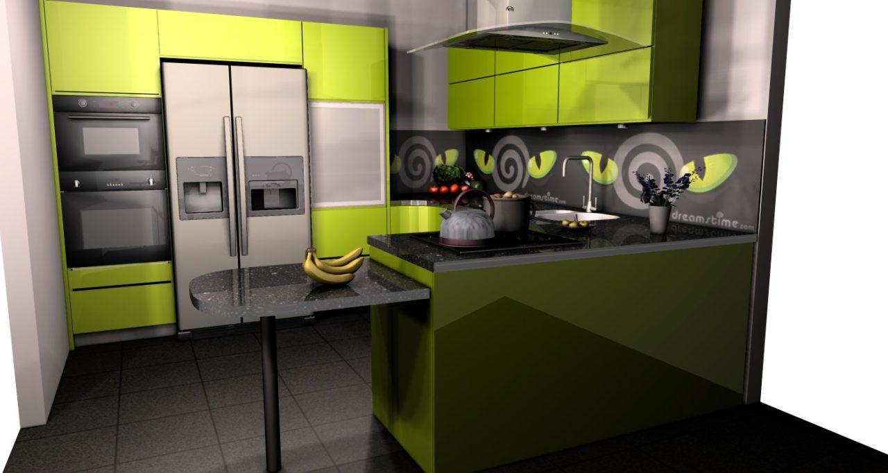 zielona kuchnia połysk projekt (1)  Kuchnie, meble   -> Kuchnia Ikea Zielona