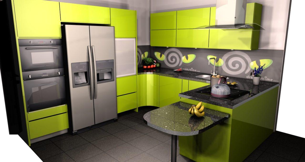 zielona kuchnia połysk projekt (2)  Kuchnie, meble