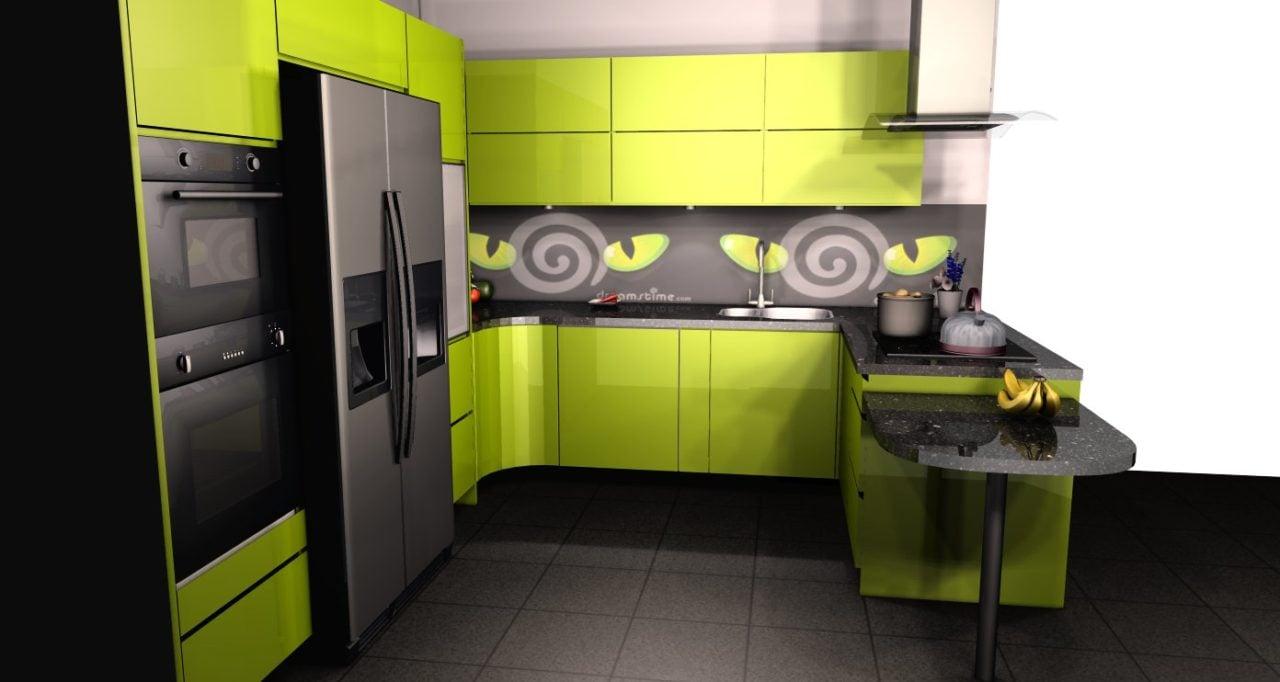 zielona kuchnia połysk projekt (3)  Kuchnie, meble