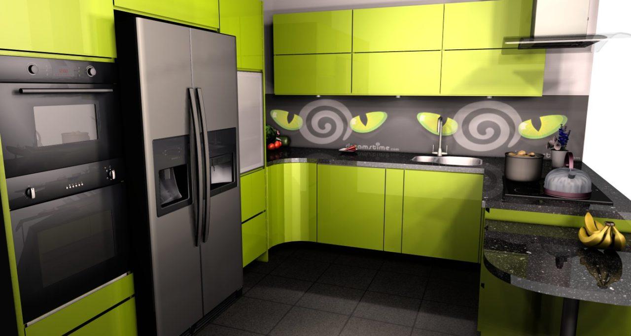 zielona kuchnia połysk projekt (4)  Kuchnie, meble   -> Kuchnia Ikea Zielona